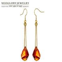 Neoglory MADE WITH SWAROVSKI ELEMENTS Crystal Long Chain Dangle Earrings Elegant Geometric Stylish Alloy Plated Lady