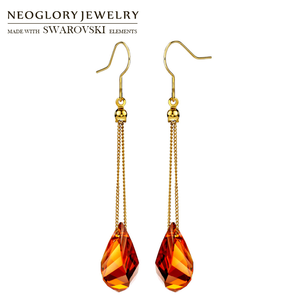Neoglory MADE WITH SWAROVSKI ELEMENTS Crystal Long Chain Dangle Earrings Elegant Geometric Stylish Alloy Plated Lady Trendy