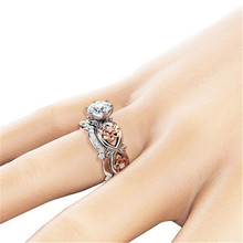 Big CZ Zircon Stone Rose Flower Silver Ring Set for Women Wedding Engagement Fashion Jewelry