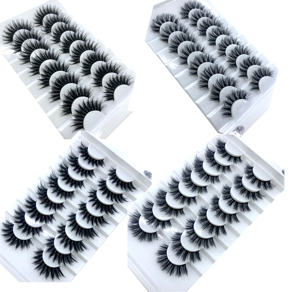 Image 2 - HBZGTLAD 5/8 /10 Pairs 3D Mink Hair False Eyelashes Natural/Thick Long Eye Lashes Wispy Makeup Beauty Extension Tools-in False Eyelashes from Beauty & Health