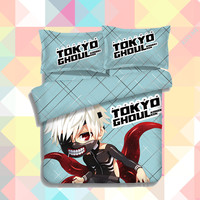 Anime Cartoon Tokyo Ghoul Kaneki Ken Quilt Cover Soft Printed Bedding Set With Pillow Cases Bed Sheet Duvet Cover Set 4pc 151201