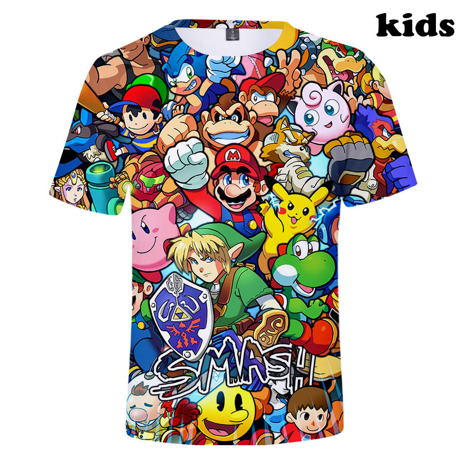2 To 12 Years Kids T Shirt Super Mario Bros. Clothing Boys Girls Short Sleeve Tshirt T-shirt Tops Outerwear Children Clothes