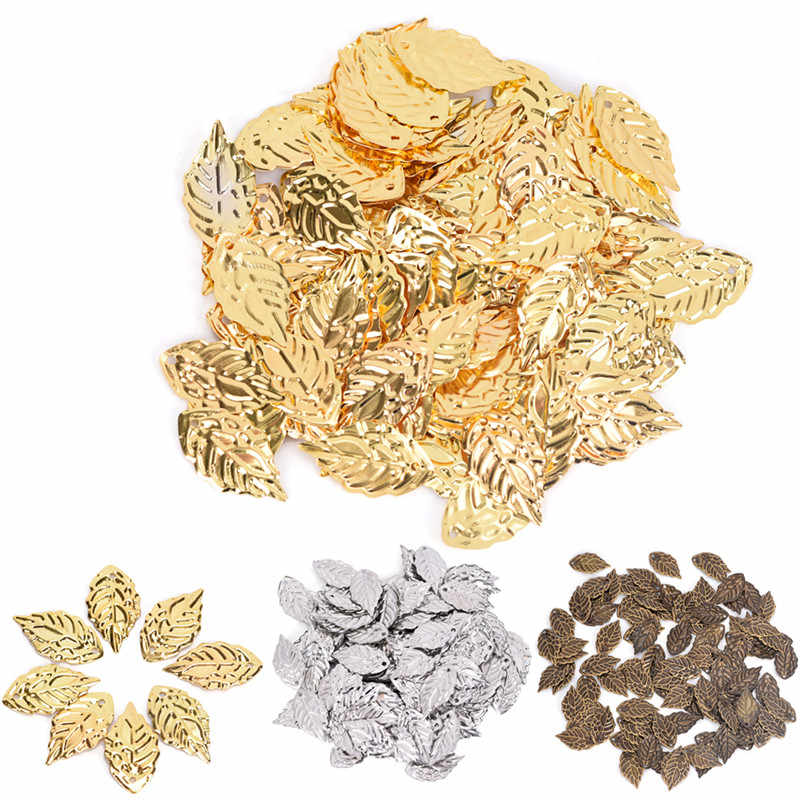50pcs Copper leaves beads leaf pendants Gold Color Plated Tree leaf connectors for jewelry making Approx.18mm*10mm/0.7*0.4in