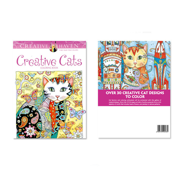 24 Pages Cats Coloring Book For Children Adult Relieve Stress Kill Time Graffiti Painting Drawing Art