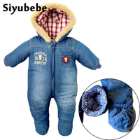 High Quality Baby Rompers Winter Babys Boys Outerwear Girls Thicken Warm Clothes Kids Jumpsuit Baby Cowboy