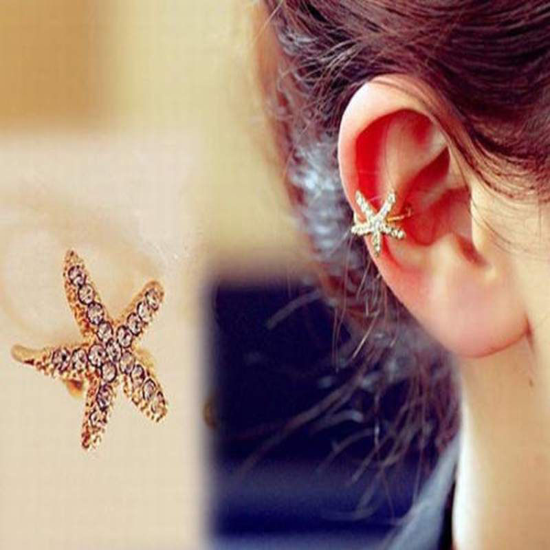 JETTINGBUY Crystal Star Clip EaringCuff Chic Starfish Ear Heart Clip Earring Gold Oorbellen Brincos Without Piercing 1Pc