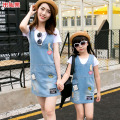2017 Fashion  mother daughter matching dresses summer style mommy and me clothes women  white T+ blue V-neck denim dress