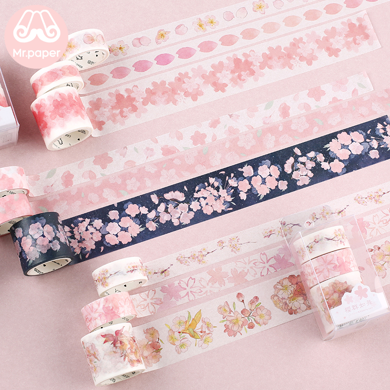Mr Paper 3pcs/box Japanese Sakura Cherry Blossom Scrapbooking DIY Pink Washi Tape Bullet Journaling Decoration Masking Tape
