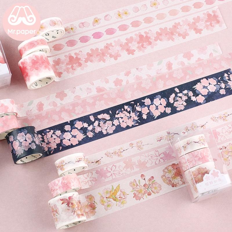 Mr Paper 3pcs/box Japanese Sakura Cherry Blossom Scrapbooking DIY Pink Washi Tape Bullet Journaling Decoration Masking Tape