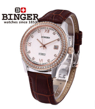 Binger 2017 Luxury Brown Leather Watch for Men Date Tourbillon Mechanical Automatic Watches Rose Gold Case CZ Diamond Wristwatch