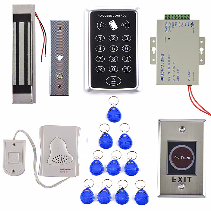 1000 Users EM Card Access Control System Kit +300LBS Magnetic Door Lock +Stainless Steel Exit Button T10 metal rfid em card reader ip68 waterproof metal standalone door lock access control system with keypad 2000 card users capacity