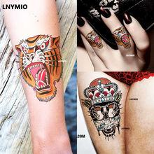 2 Pcs Temporary Tatoo Tiger & Panther Tattoo Sticker School Arm Thigh