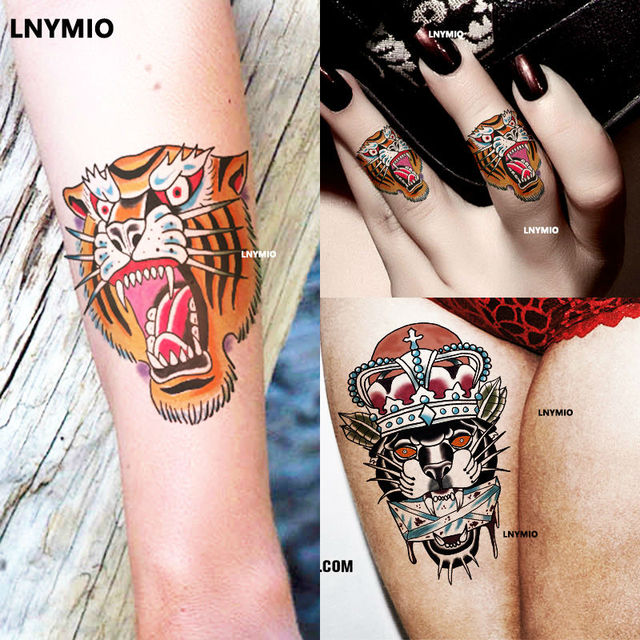2 Pcs Temporaire Tatoo Tigre Panther Tatouage Autocollant Nouvelle