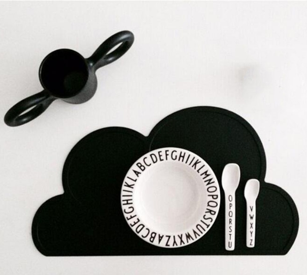 Table Mat FDA Silicone Kids Place Mats for Dining Table Cloud Shaped Placemat for Kitchen Set Home Pads