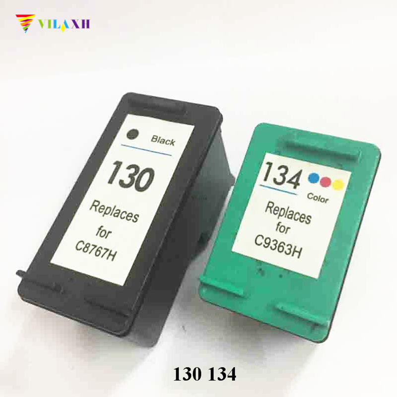 Vilaxh 130xl 134 Compatible Ink Cartridge Replacement for HP 130 134 xl Deskjet 5943 6543 5743 6623 5743 6843 6523 6943 printer