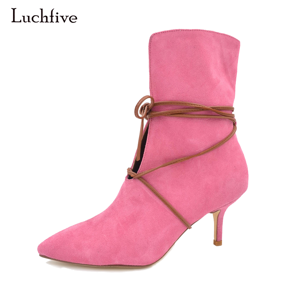 Luchfive Sweet girls Pink Suede Fashion Ankle Boots Women Pointed toe lace up Thin High Heels Stilettos Winter boots odetina 2018 new fashion genuine leather thin high heels ankle boots for women pointed toe lace up booties stilettos side zipper