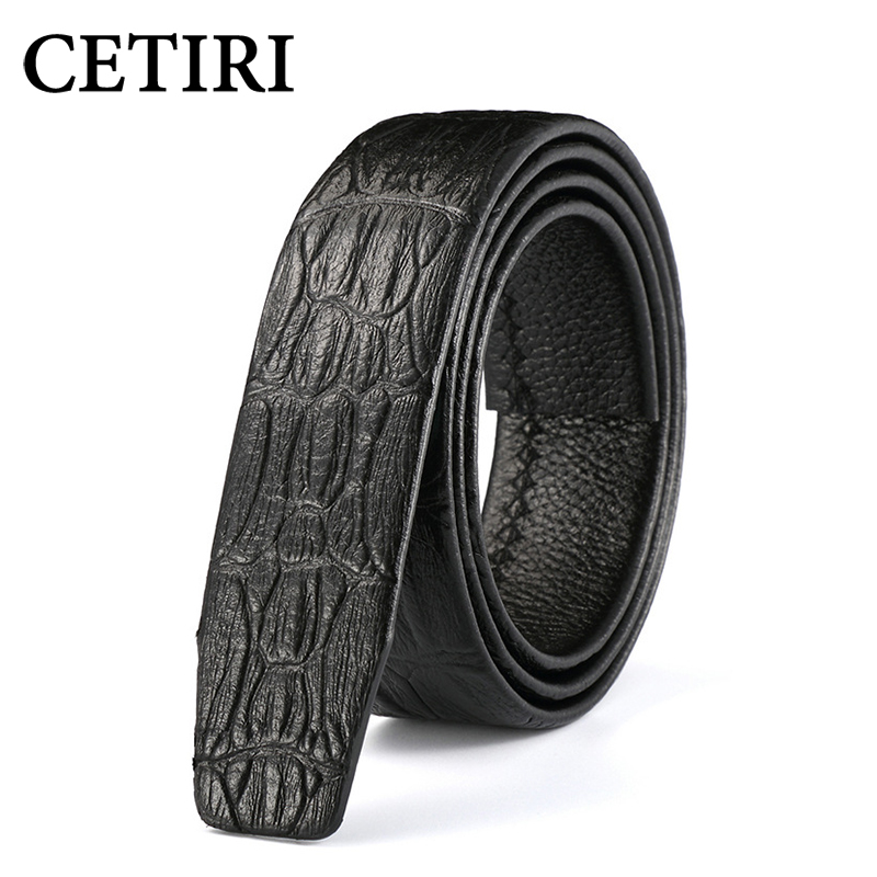 CETIRI 3.5cm Men Crocodile Pattern Genuine Leather Automatic Belt Without Buckle Luxury Brand Belts Men High Quality 110-130cm