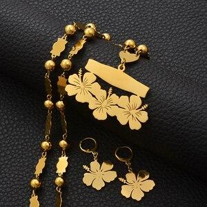 Image 4 - Anniyo collier et boucles doreilles avec nom personnalisable micronésie Guam, ensembles de bijoux à fleurs hawaïennes, pour lettres imprimées, cadeau danniversaire #107321