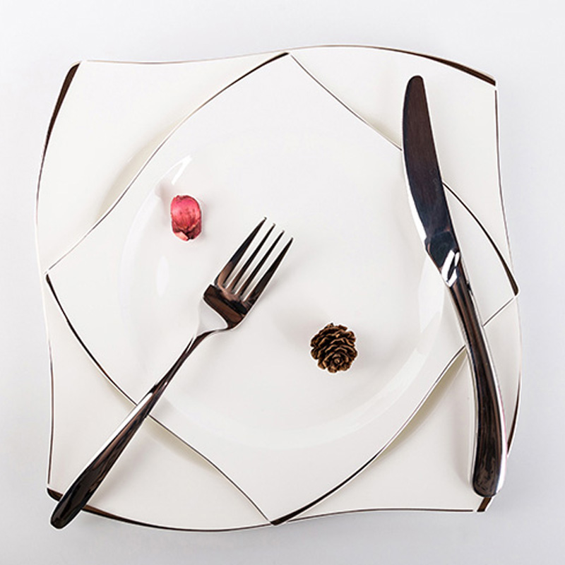 Disenn High Quality Square Dinner Plates White Ceramic  Tableware Set  Silver Inlay Dishes Household Food Plate
