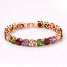 FYM high quality Rose Gold Color Crystal Chain Link Bracelet femme AAA Zircon CZ Colorful Bracelets for Women Wedding Jewelry fym high quality luxury colorful aaa zircon crystal bracelet femme bracelet