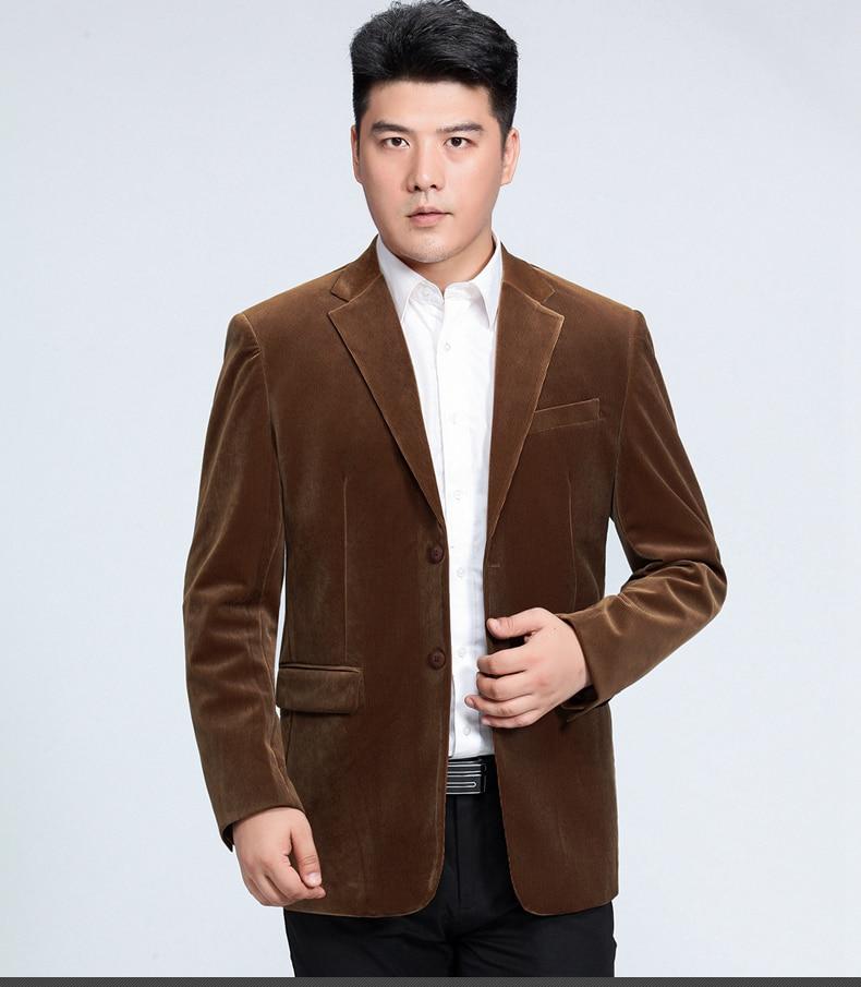 WAEOLSA Men Striped Velvet Blazers Elegant Plain Color Suit Coats Man Wool Blazer Hombre Corduroy Suit Jackets Red Navy Blue Uniform (5)