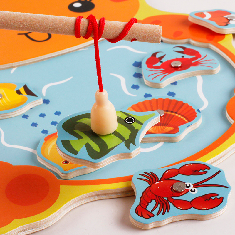 Montessori Toys for Children Wooden Early Educational Toys Kids 3D Magnetic Cartoon Animal Fishing interactive Game Development