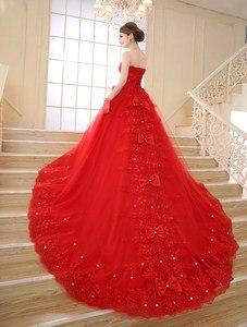 Image 2 - VINTAGE VINTAGE ลูกไม้สีแดงชุดแต่งงาน 2020 รถไฟยาว Plus Size vestidos de noiva Robe de mariage เจ้าสาวชุดบอลชุด