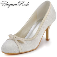 Woman Shoes Ivory EL 029 White Ivory Closed Toe Bow High Heel Lace Ladies Wedding Bridal