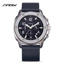 SINOBI Sports Chronograph Men's Calendar Quartz Wrist Watches Top Luxury Brand Male Geneva Quartz Clock Erkekler Izle 2017 G11