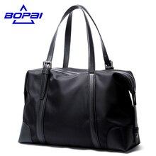 BOPAI Fashion Brands Business Travel Shoulder Bags Men Black Nylon Tote Bag Large Capacity Men Handbag Satchel Casual Bag