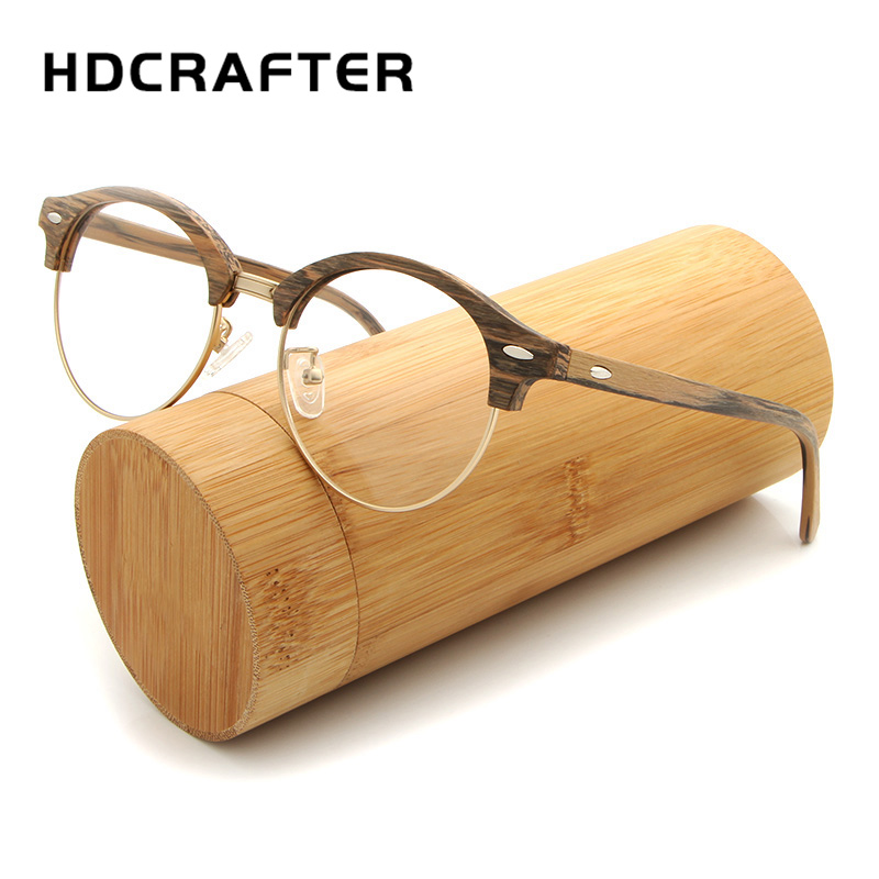 HDCRAFTER Men Women Glasses frame Vintage Round Wooden Myopia Spectacle Glasses Frames with Clear Lens Computer Reading Glass