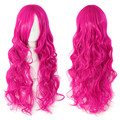 Peach Red Women's Fashion Rose Pink Long Hair Wave Curly Wigs Curly Hair Cosplay Dress Full Wigs 88
