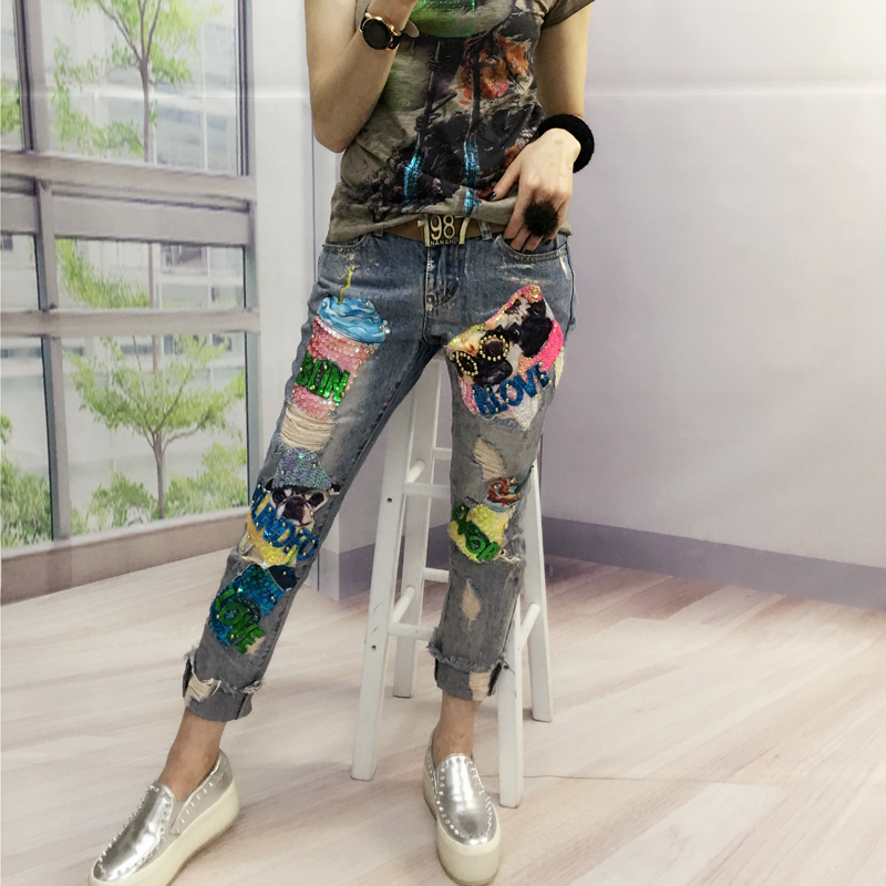 Women Boyfriend Street Holes Ripped  Jeans 2017 New Fashion Femme 3D Sequins Beading Denim Pencil Pants L947 boyfriend holes ripped jeans for women autumn new fashion denim capris jeans mid waisted soft pencil cropped casual pants mujer