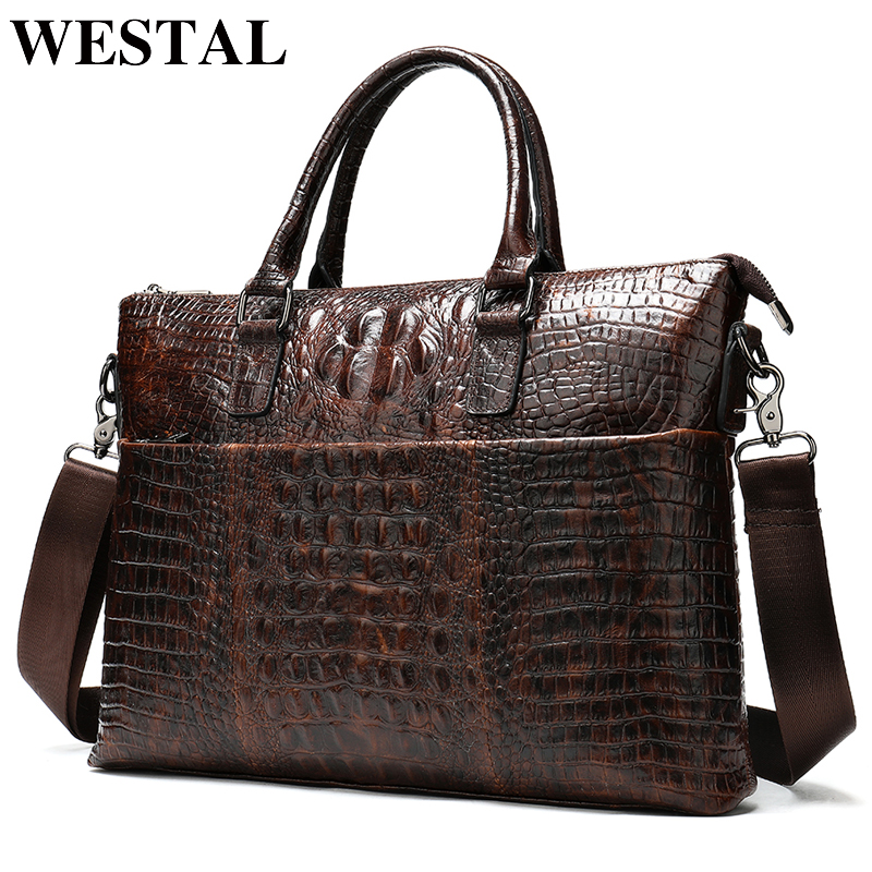 WESTAL Men's Briefcase Bag Men's Genuine Leather Laptop Bag Men Office Bag For Men's Crocodile Pattern A4 File Briefcase Handbag