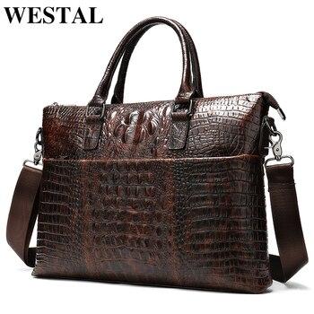 WESTAL men's briefcase bag men's genuine leather laptop bag men office bag for men's crocodile pattern A4 file briefcase handbag