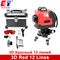KaiTian 3D Laser Levels Battery 650nm 12 Lines Cross Level With Slash Function And Self Leveling