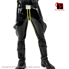 Black and Yellow Trim Front Zipper Sexy Latex Breeches Jodhpurs Pants Jeans Long Bottoms Rubber Leggings Trousers
