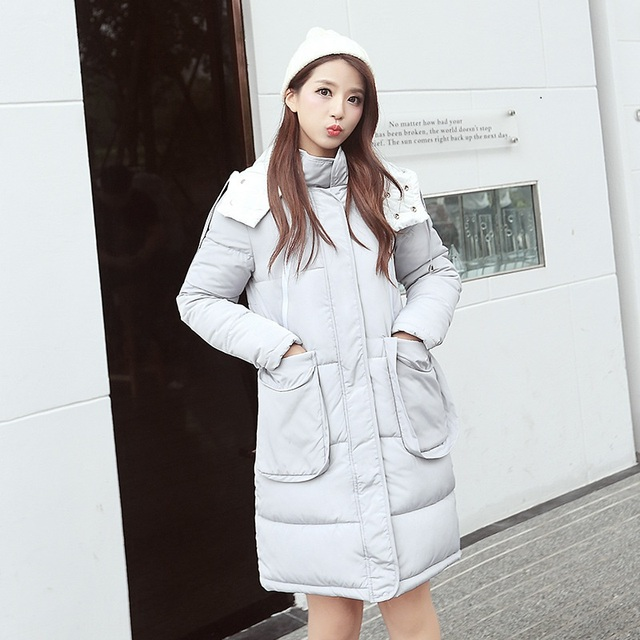 Donna Winter Women Hooded Long Parkas Polyester Padded Casual Warm Slim Cotton Jacket Outerwear Female Thick Down Coat W422Z