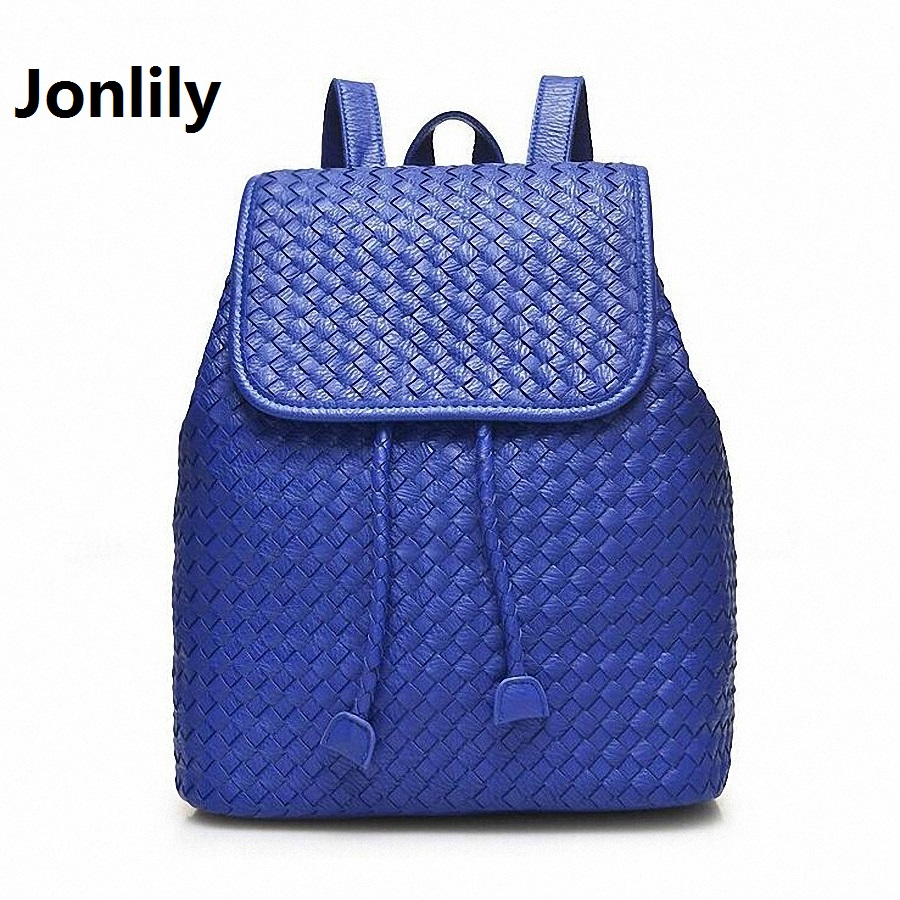 Jonlily Women Genuine Leather Backpack weave School Bags For Girls  Korean Backpacks Student Bookbag Mochilas Femininas LI-1392 2016 spring new school bags for girls designer brand women backpack korean style bookbag shoulder bag wholesale kids backpacks