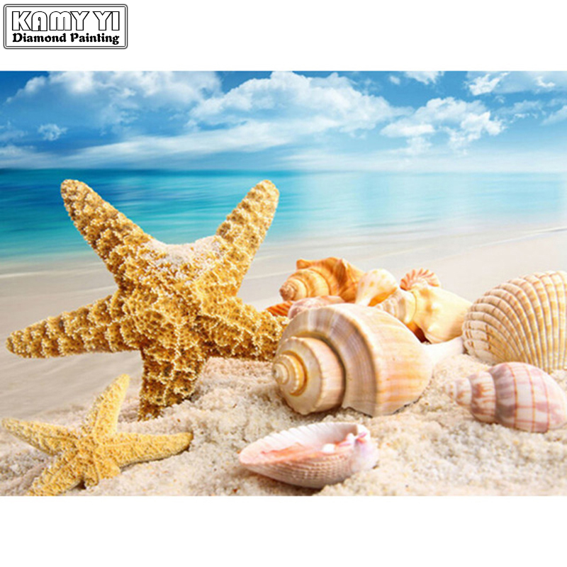 DIY Cuadros de punto de cruz mar Conchas mar paisaje Decoración para el hogar completo rhinestone mosaico 5d diamante Bordado