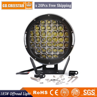 185Watts Round 9 inch Led Work Light 37leds 12V 24V For 4WD 4x4 offroad Led Spotlight Led Driving Lighting free cover x20pcs