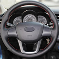 Hand-stitched Black Leather Steering Wheel Cover for Kia K2 Kia Rio 2011-2013