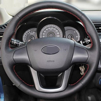 Hand Stitched Black Leather Steering Wheel Cover For Kia K2 Kia Rio 2011 2013