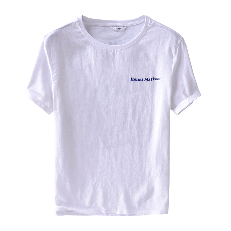 Mens linen casual letter print short-sleeved t-shirt loose trend men Japanese white t shirt solid fashion tshirt male chemise