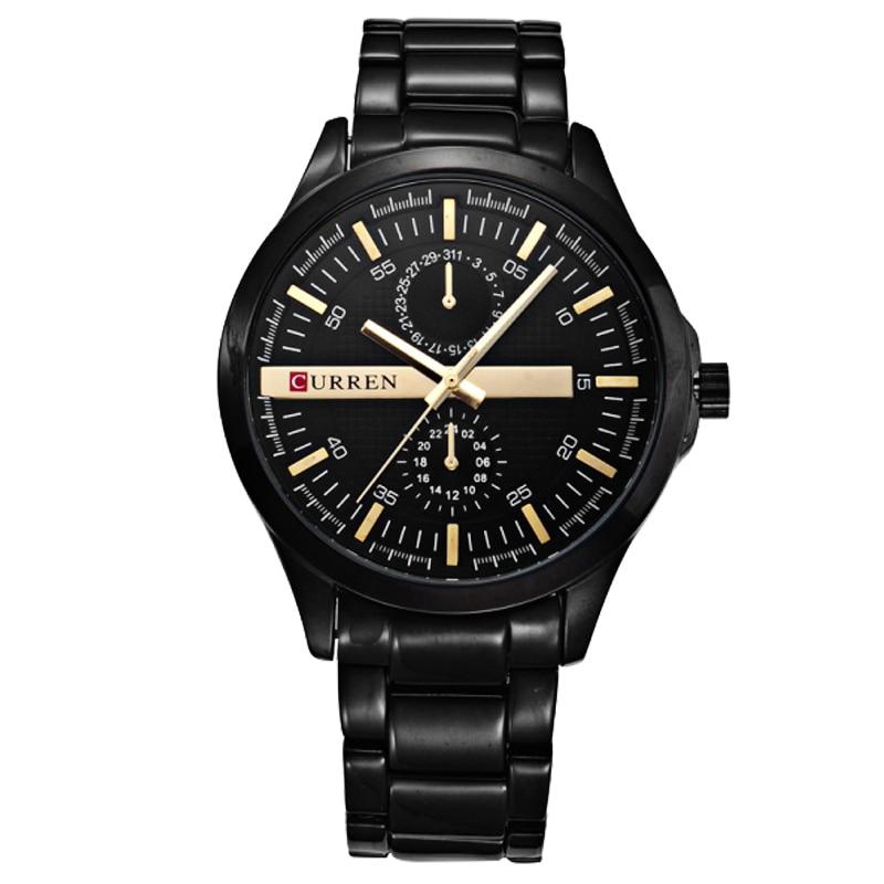 CURREN แข่งกีฬานาฬิกาสีดำทองนาฬิกาผู้ชายแฟชั่นผู้ชายนาฬิกาข้อมือควอตซ์นาฬิกาญี่ปุ่นสแตนเลสสีดำ-ใน นาฬิกาควอตซ์ จาก นาฬิกาข้อมือ บน