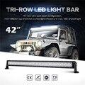 Oslamp Triple fila 42 pulgadas Straight luz LED Bar inundación del punto de haz Offroad 3 fila Led conducción barra de luz camioneta SUV ATV 12 V