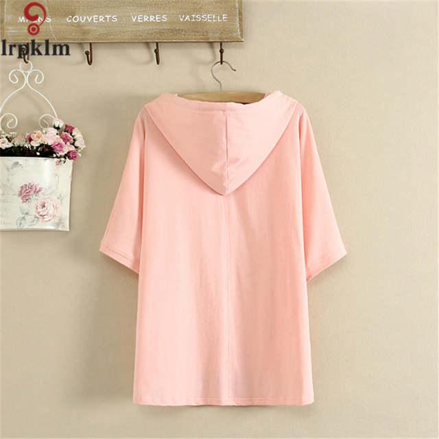 90ae1be10c4 placeholder 2017 Japanese Little Fresh Style Women Spring Summer  Sweatshirts Short Sleeve Hoodies Women Pink Black Cotton