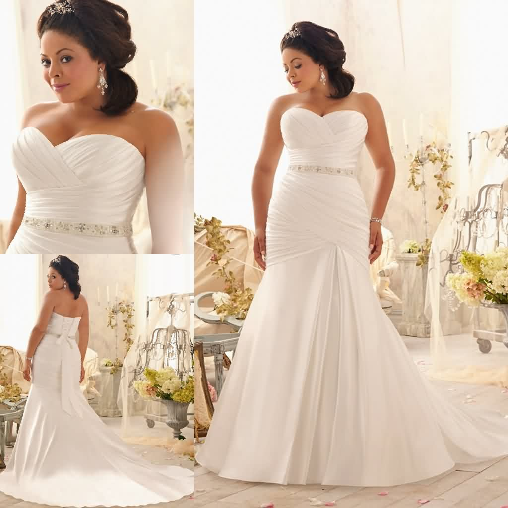 Plus Size Wedding Dress Mermaid Style Sweetheart Satin
