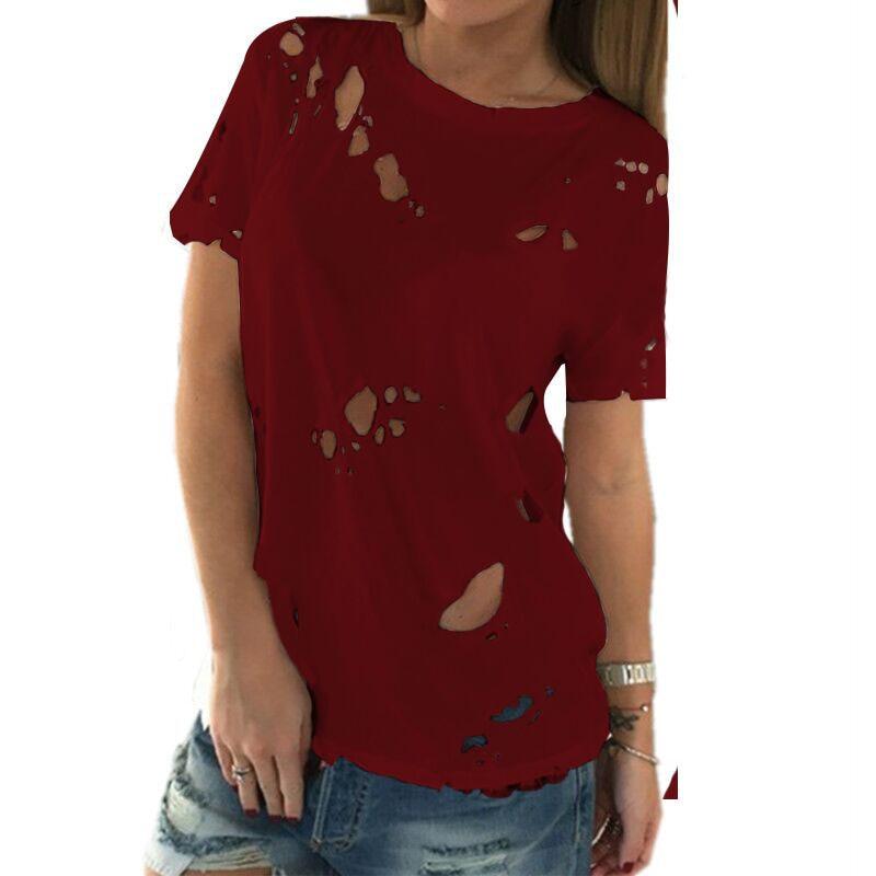 - 2017 Summer Holes T Shirt Women Fashion Sexy -5585