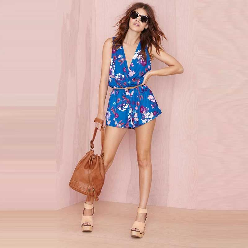 HDY Haoduoyi Sexy Floral Print Jumpsuits Women Cute V-neck Bohemian Pleated Rompers Elastic Waist Casual Sleeveless Playsuits